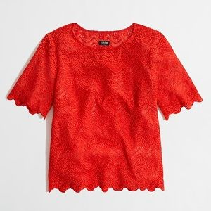 J. Crew Coral Lace Top in size Medium